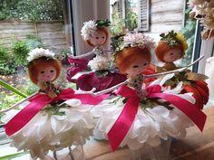 Silk flower fairies.. @cottonandrose Christmas Wreaths, Christmas Ornaments, Flower Fairies, Fairy Dolls, Silk Flowers, Holiday Decor, Rose, Cotton, Faeries