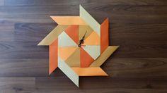 origami clock orange clock origami home decor par JimadoriiCrafts