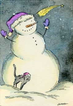 Snowman friend, painting by artist Nicole Wong