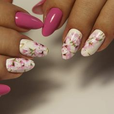 Gel Nail Art Designs, Flower Nail Designs, Flower Nail Art, Colorful Nail Designs, Super Cute Nails, Pretty Nails, Pastel Nail Art, Glitter Nail Art, Fancy Nails