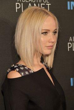 17 Fashionable Celebrity Bob Haircuts to Copy: #3. Jennifer Lawrence Graduated Bob Haircut For Blonde Hair