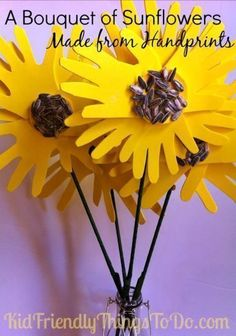 Oh my goodness! What a cute idea. One of the sweetest bouquet of flower handprint crafts I've ever seen! Love this.