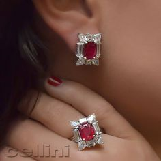 FancyCut Diamonds and Red Hot Ruby earrings Ruby Earrings, Ruby Jewelry, Bridal Jewelry, Diamond Jewelry, Jewelry Sets, Diamond Earrings, Fine Jewelry, Gold Jewelry, Jewellery