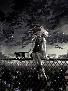 Black and White Anime Girl with Headphones   Anime Art