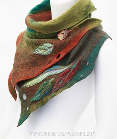 Felted scarves - Felted Scarf - Felt Cowl - Nuno-felted scarf - Eucalyptus Summer