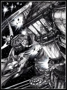 Tony HoughBattlefleet Gothic Eldar Ships Attack. Battlefleet Gothic illo from 1990