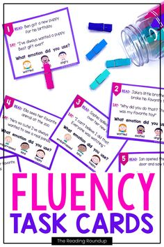 Reading fluency activities are meant to be fun! Students can use these task cards to practice expressive reading to match how the character is feeling. They will have so much fun practicing reading with expression that they won't realize they're improving their reading comprehension at the same time! The corresponding printable emotions charts can be used as an anchor chart during small groups & writers workshop. #thereadingroundup #fluency #taskcards #1stgrade Reading Fluency Activities, Teaching Reading Strategies, Fluency Practice, Reading Resources, Reading Comprehension, Teacher Resources, First Grade Reading, Student Reading, Emotion Words