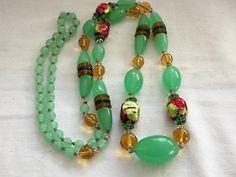 Vintage Art Deco Necklace Rainbow Foil Glass Beads Venetian Murano  $205