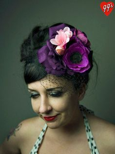 Purple Peonies Floral Fascinator with Veil by ggspinupcouture, $46.00