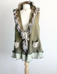 Olive Green Sweater Vest Hooded Cardigan by BrokenGhostClothing, $69.00
