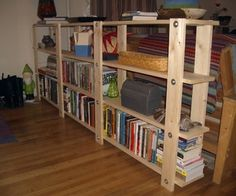 Hummm, what do you think about this idea? Shelves rest on threaded rod. I think I could make this!