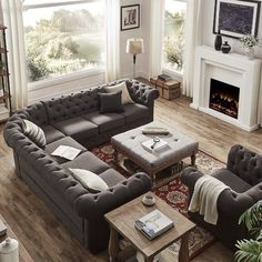 """Found it at Joss & Main - Mona 117"""" Chesterfield Sectional Sofa"""
