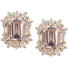 Morganite (2 ct. t.w.) and Diamond (7/8 ct. t.w.) Stud Earrings in 14k... (833.675 HUF) ❤ liked on Polyvore featuring jewelry, earrings, rose gold, gold earrings, 14k stud earrings, emerald cut diamond earrings, 14k gold earrings and stud earrings