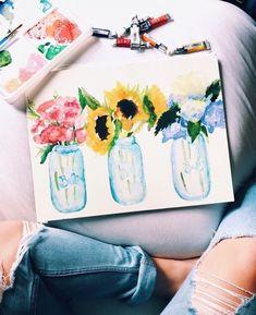 Watercolor Flowers Sunflowers Inspire Me Vision Beautiful Art Ideas Vintage Grunge, Arte Sketchbook, Wow Art, Watercolor Paintings, Watercolor Flowers, Watercolors, Watercolor Tattoo, Oeuvre D'art, Art Inspo