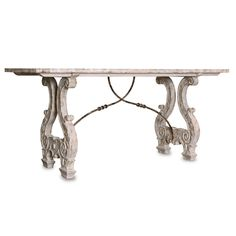 Kathy Kuo Home Italian Lyre Base Rustic Country Antique Console Table Antique Console Table, White Console Table, White Dining Table, Table Legs, Console Tables, White Tables, Entryway Console, French Country Furniture, French Country Living Room