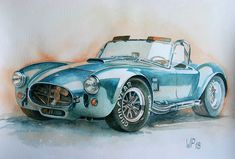 AC Cobra - Shelby 1965, original painting, vintage car painted in watercolor on art paper, no print