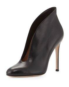 Leather V-Neck Ankle Bootie, Black, Size: 35.0B/5.0B - Gianvito Rossi