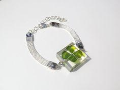 Annys workshop手作押花飾品,田字幸運草手鍊, Pressed flower with Crenatae Water-clover , Handmade Bracelet