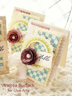 Set of cards from Designer @Andrea Budjack using #GlueArts Adhesives and #Nikki Sivils papers! gluearts.blogspot.com
