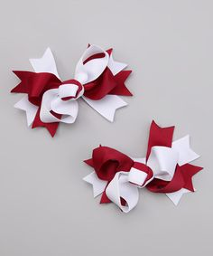 Take a look at this Maroon & White Bow Clip Set by The Hair Candy Store on #zulily today!