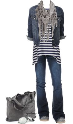 Casual jeans, striped top, denim jacket and fringe scarf.