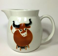 Arabia of Finland bull pitcher --- usably to store your kitchen spoons