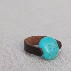 Turquoise & Leather Ring