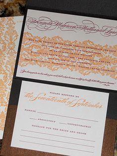 Letterpress invite - orange damask with garnet ink
