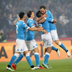 Gonzal Higuain of Napoli celebrates after scoring his team's second goal during the Serie A match between SSC Napoli and Frosinone Calcio at Stadio San Paolo on May 14, 2016 in Naples, Italy.