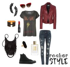"""""""Rocker Style Red."""" by rubyvonkisses ❤ liked on Polyvore featuring WithChic, Converse, Balenciaga, Cristabelle, Jaeger, Hermès and Dolce&Gabbana"""