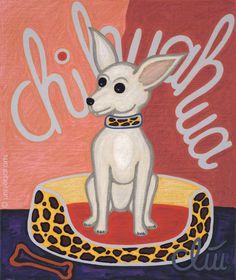JACQUELINE DITT- The Chihuahua Dog  A4 Druck n.Gemälde Bilder Giclee Hund Tier