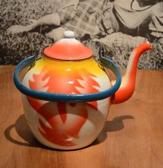 Vintage Enamel EMO Celje Teapot / Kettle with fire by Yugovicheva