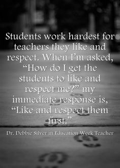Response: Goal Of Classroom Management Is To Have Power 'With,' Not 'Over,' Kids Educators Dr. Debbie Silver, Richard L. Curwin, and Marcia L. Tate share their advice on classroom management strategies in Part Three of my four-part Education Week series. Education Week, Education Quotes For Teachers, Quotes For Students, Elementary Education, Quotes For Kids, Education English, Special Education, Quotes Children, Education System