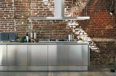Brick and Stainless Steel Kitchen