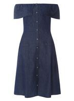 Womens Indigo Button Down Bardot Midi Denim Dress- Blue