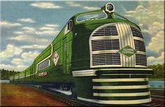 ILLINOIS CENTRAL Railroad Green Diamond Streamliner Retro Poster Art Print 208