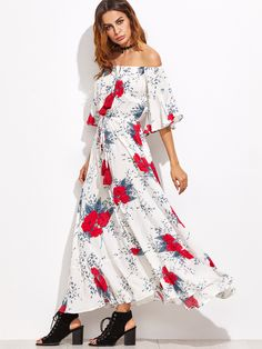 927dc51aef60 Shop White Flower Print Off The Shoulder Drawstring Dress online. SheIn  offers White Flower Print