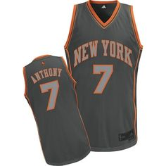 e94f904b ... Carmelo Anthony Authentic In Grey Adidas NBA New York Knicks Graystone  Fashion 7 Mens Jersey 2013-2014 ...