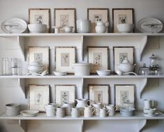 White Porcelain Open shelves in kitchen with botanical grouping. Oh ya!