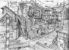as-warm-as-choco:  Tekkon Kinkreet(鉄コン筋クリート) Background Art by Shinji Kimura   Art Director : Blue Exorcist (movie), Tekkonkinkreet, Steamb...