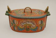 Bentwood box with Os style rosemaling. Box was brought from Voss, Norway in 1885 by Martah Nikolaisdatter Kine.