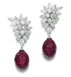 Diamond earrings, Van Cleef & Arpels, and ruby pendants