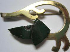 Vintage Modernist Brass and Bakelite Dog Brooch
