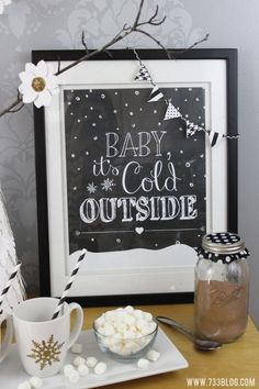 Baby It's Cold Outside Free Printable with mini bunting made with Cricut Explore -- 733blog.com