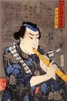 Half-legth portrait of Goshaku Somegoro - Utagawa Kuniyoshi - WikiPaintings.org