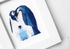 Penguin family, Geometric print, Original illustration