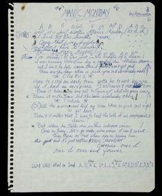Manic Monday handwritten lyrics