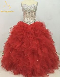 2017 Hot Sale Sexy Blue Red Quinceanera Dresses Ball Gowns Sweetheart Beaded Lace Up Sweet 16 Dress Vestidos De 15 Anos QA385