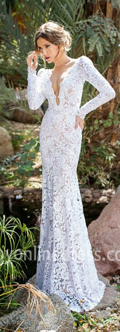 New Lace Wedding Dresses Long Sleeves