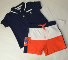 NWT Ralph Lauren Baby Boy Polo Shirt and Shorts Outfit Set sizes 3m - 9 Months